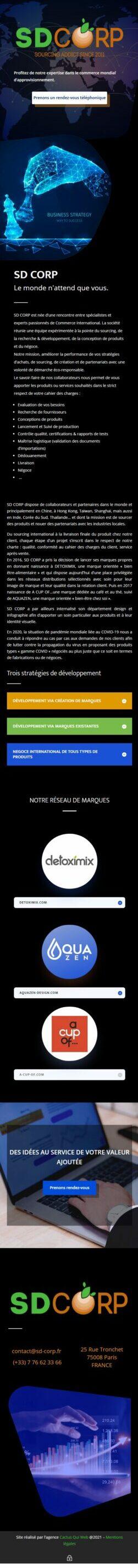 Vue mobile Accueil SD Corp sd corp fr